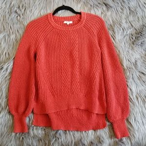 Madewell Red Knit Crew Neck Pullover Sweater